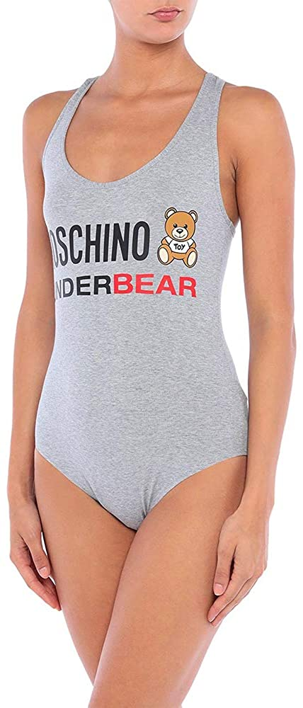 MOSCHINO Underwear Women's Tank Underbear Bodysuit Grey