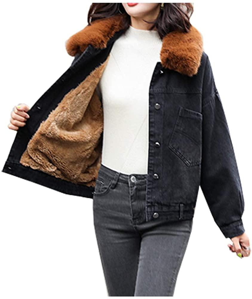 SCOFEEL Women's Warm Sherpa Lined Faux Fur Collar Denim Jean Trucker Jacket