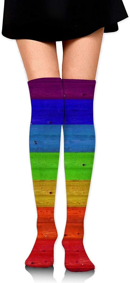 Dress Socks Wood Colorful LGBT Gay Pride Flag Long Knee Hose Tights Stockings