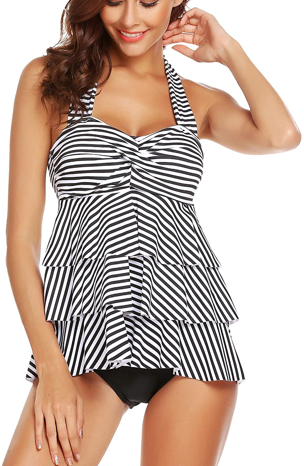 ADOME Women's Halter Swimsuit Striped Ruffles Two Piece Tankini with Briefs