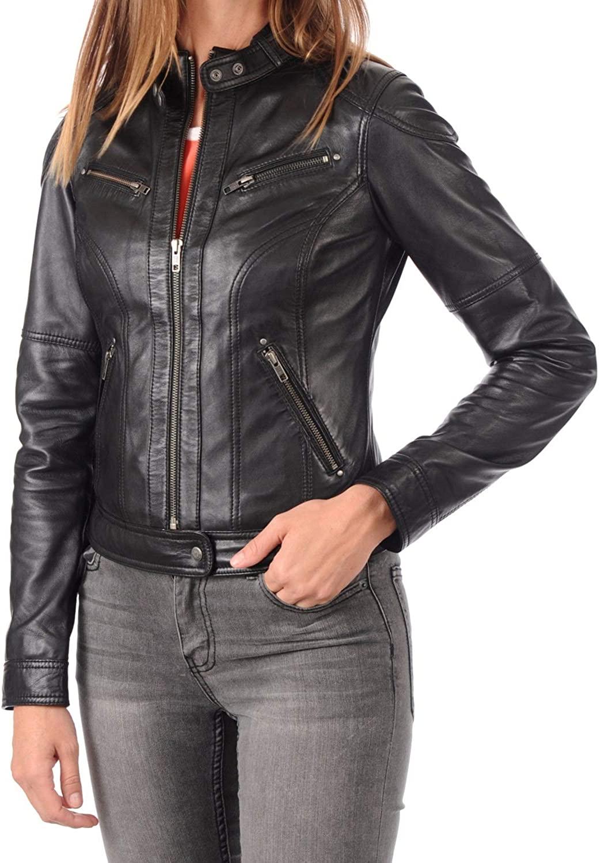 Womens Stylish Genuine Lambskin Motorcycle Bomber Biker Leather Jacket WJ 243