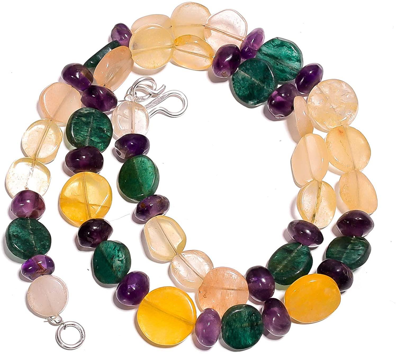kanta incorporation Natural Amethyst Orange & Green Aventurine Gemstone Beads Necklace 17