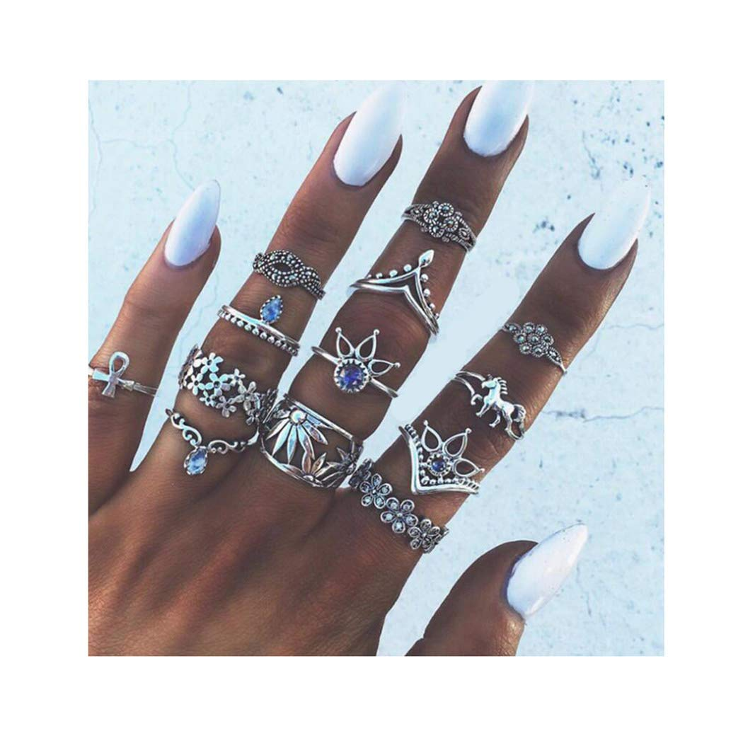 Campsis 13PCS Silver Vintage Women Ring Sets Crystals Knuckle Stacking Multi Size Rings Boho Mid Rings for Women and Girls