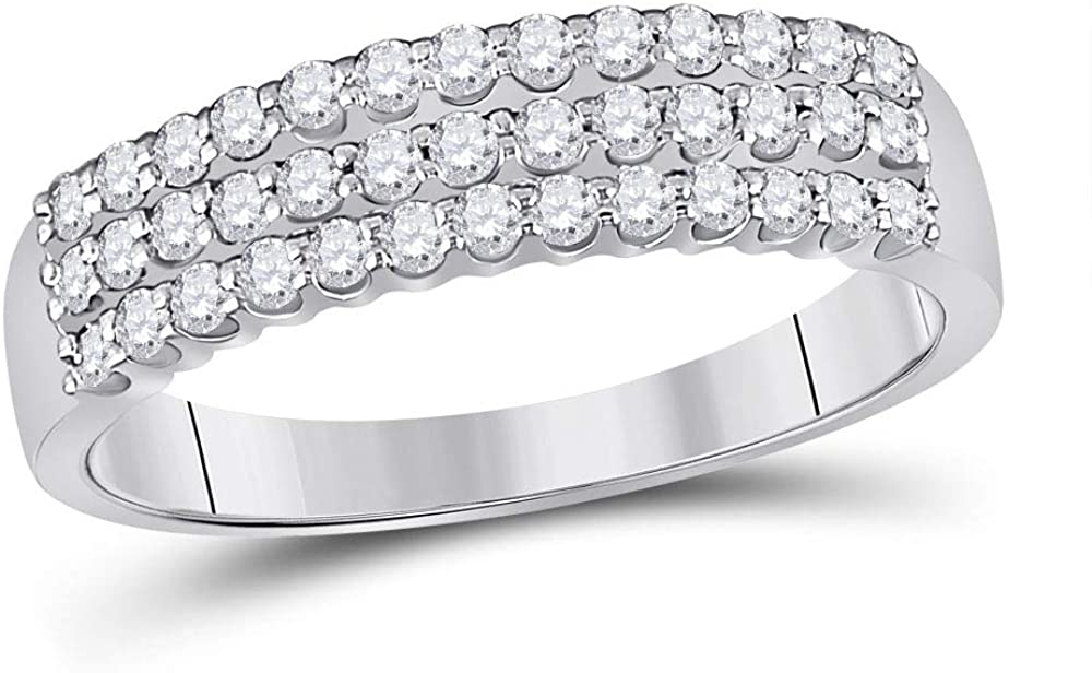 Dazzlingrock Collection 14kt White Gold Womens Round Diamond Classic Anniversary Ring 1/2 Cttw