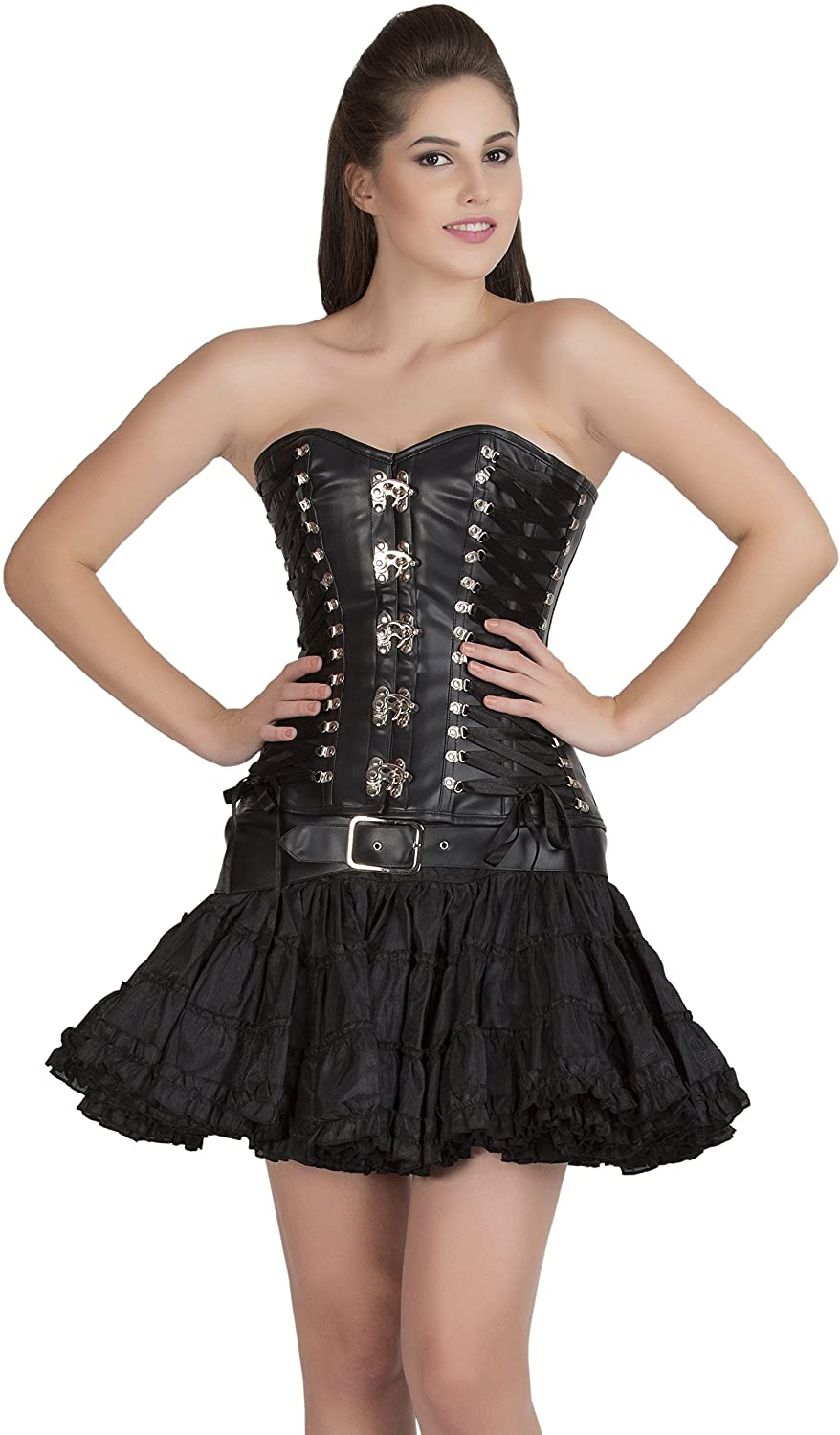 Black Leather Goth Steampunk Plus Size Costume Waist Shaper Overbust Bustier Top