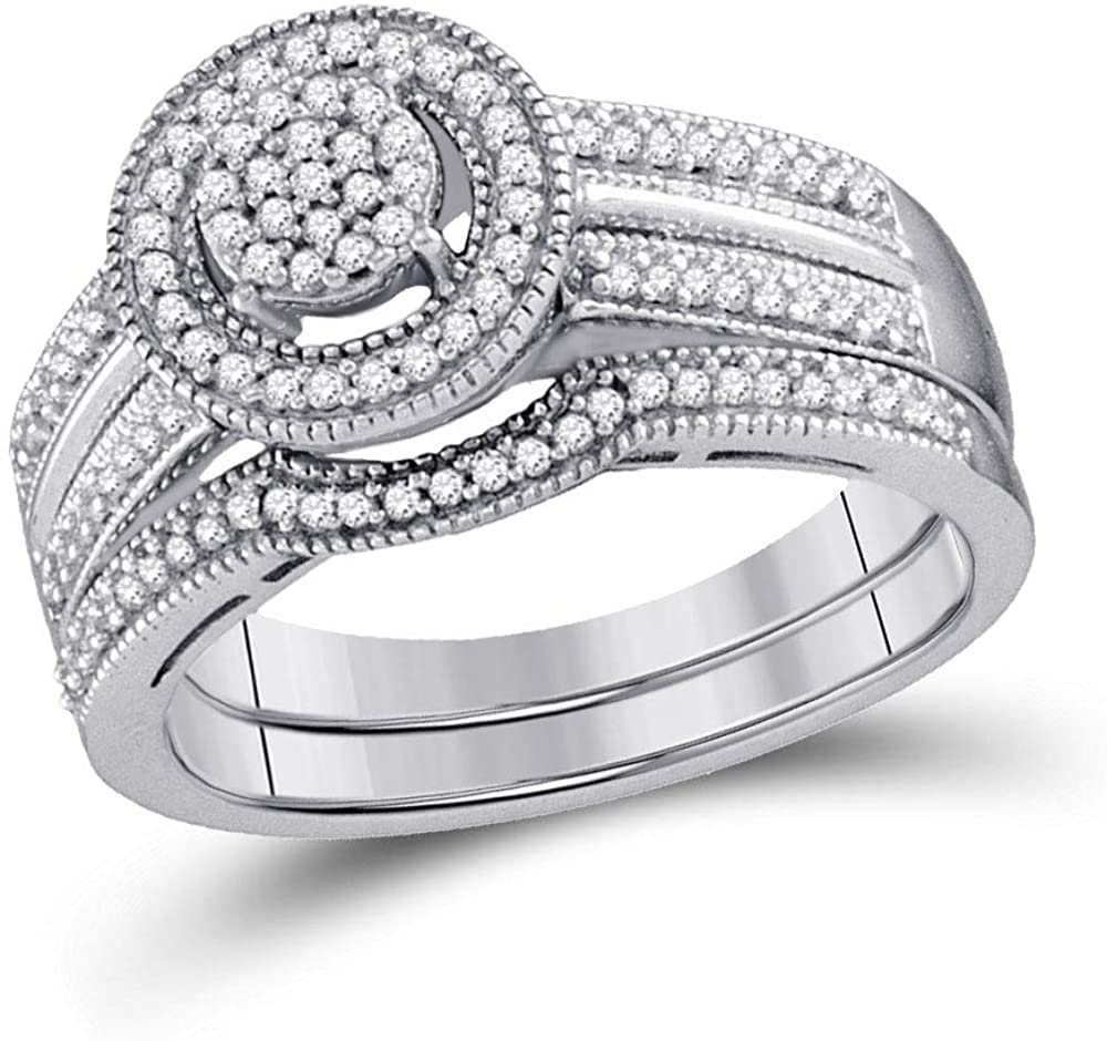 Dazzlingrock Collection Sterling Silver Round Diamond Bridal Wedding Ring Band Set 1/3 Cttw