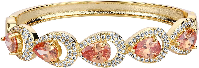 EVER FAITH Cubic Zirconia Wedding Hollow-Out 5 Teardrop Bangle Bracelet
