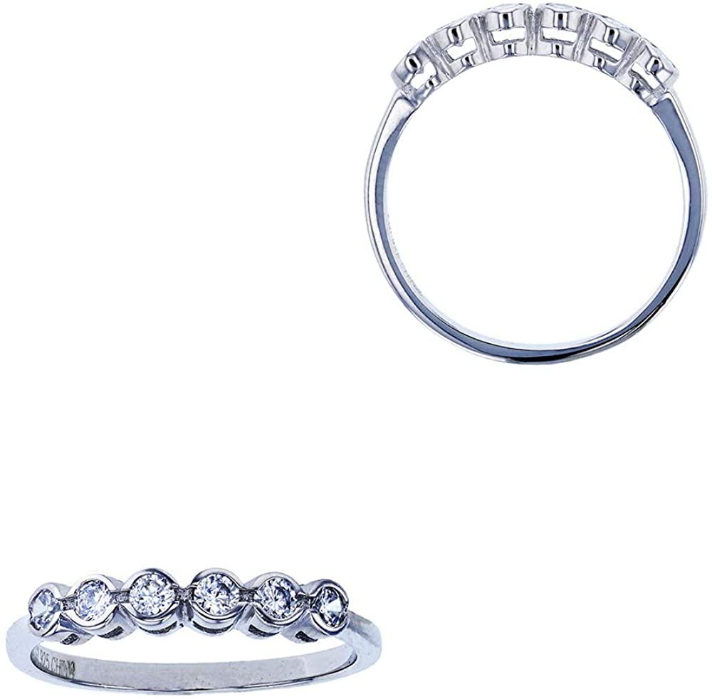 Sterling Silver Rhodium 2.50mm Round CZ Anniversary Ring