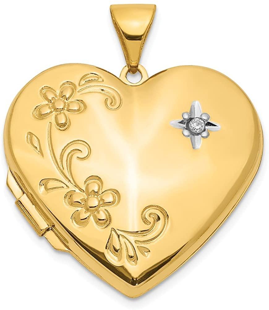 Mia Diamonds 14K Yellow Gold Diamond Family Heart Locket Pendant (28mm x 22mm)