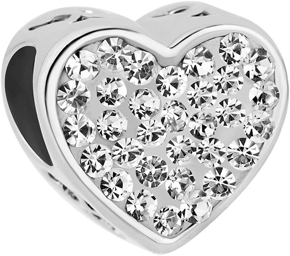ReisJewelry Sister Charm Heart Love Charms Bead for Snake Chain Bracelet