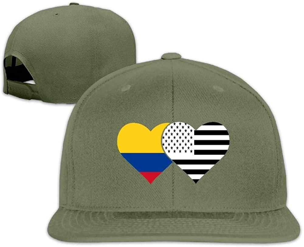 YOIGNG Colombian Flag and American Flag Baseball Caps Grid Hat Adjustable Trucker Cap Bandanas