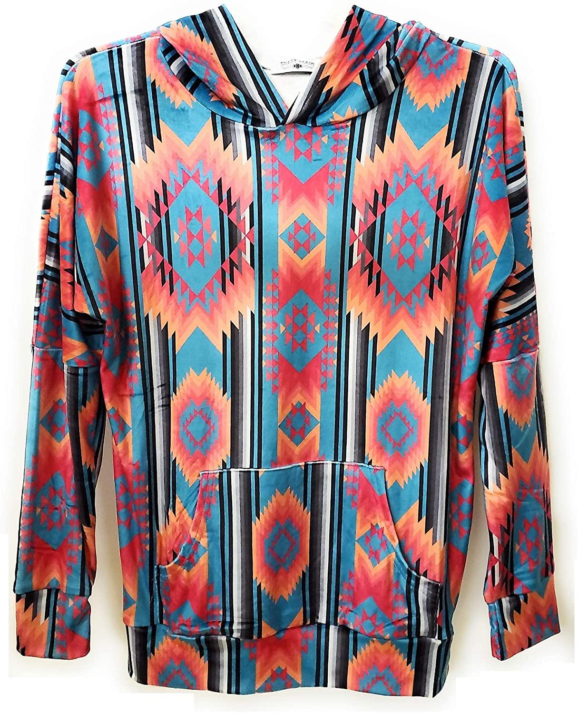 Crazy Train Aztec Light Jacket Soft Serape Hoodie Coat Pull Over Blue Orange Pink Jp