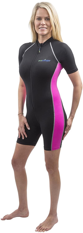 Women Sunsuit One Piece Swimwear Sun Protection UPF50+ Black Pink
