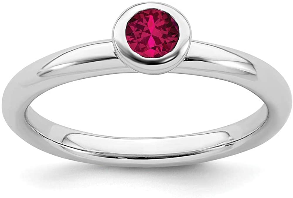 Solid 925 Sterling Silver Stackable Low 4mm Round Created Ruby Ring Eternity Band