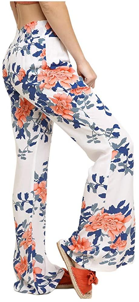 Umgee Women High Waist Floral Print Wide Leg Pants with Smocked Elastic Waistband