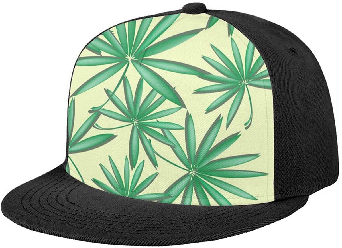 Flat Brim Hat Special Tropical Palm Leaves Baseball Cap Sun Visor Hat for Women Men Teen Boys Girls