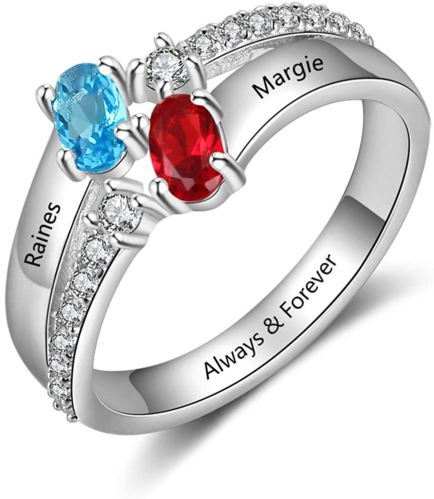 QXun Personalized Mothers Rings 2 Simulated Birthstones 2 Name Promise Rings for Her