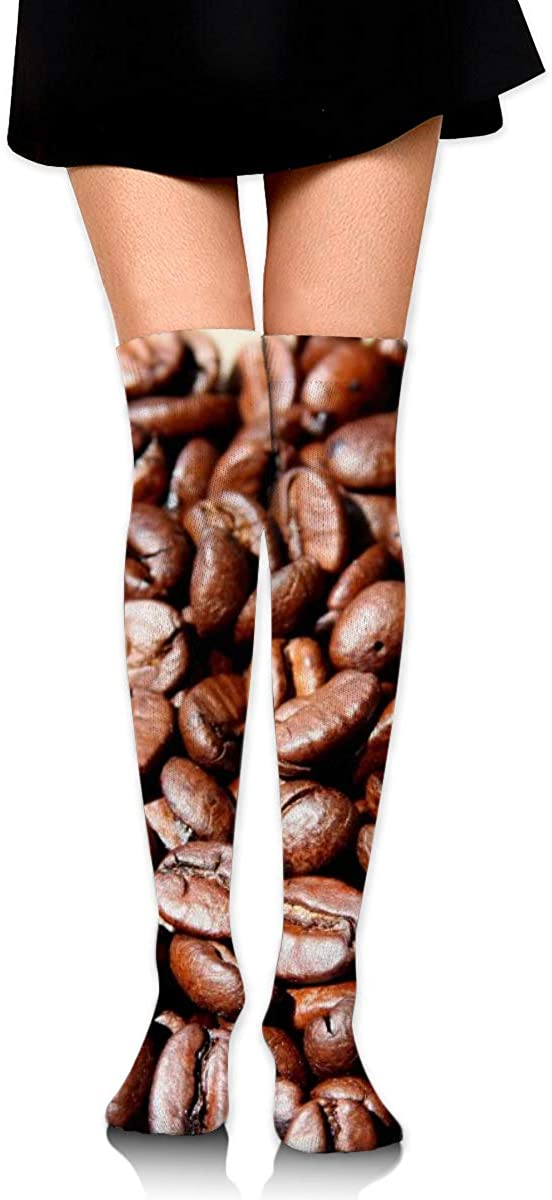 Dress Socks Cute Coffee Bean Drink Long Knee Hose Hold-Up Stockings