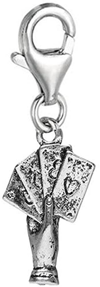 Sexy Sparkles Poker in Hand Clip On for Bracelet Charm Pendant for European Charm Jewelry with Lobster Clasp