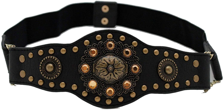 TFJ Women Ethnic Fashion Antique Gold Metal Flower Charm Wide Belt Black M L