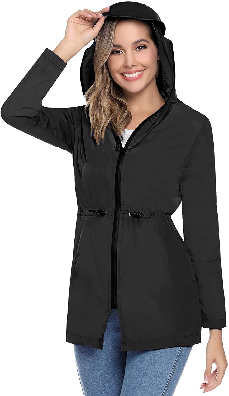 Aibrou Women Rain Jacket Waterproof with Hood Striped Lined Lightweight Raincoat Outdoor Windbreaker XS-XL