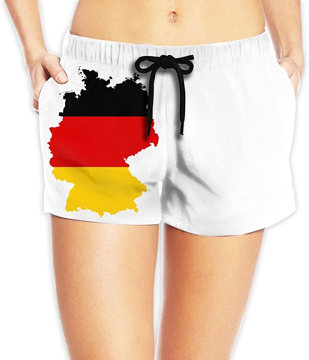 LzVong Flag Map of Germany Women's Female Beach Pants Summer Beachwear Board Shorts