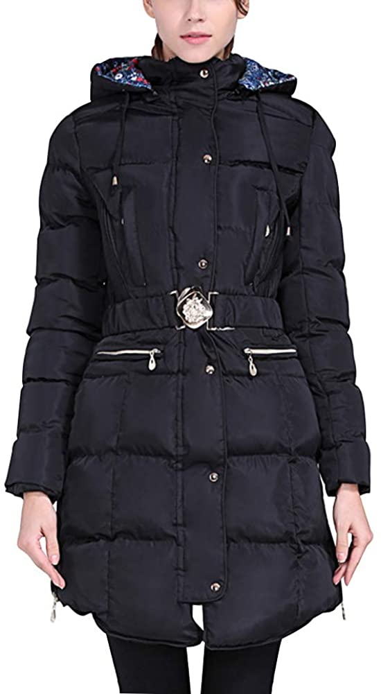 Womens Fashion Elegant Winter Hooded Down Jacke Lined Zip-Down Hooded Coat