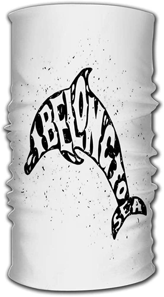 Headband Bandanas Dolphin Marine Label Grunge I Belong to Sea Multifunctional Headwear,5093 Ways to Wear Your Magic Headwear