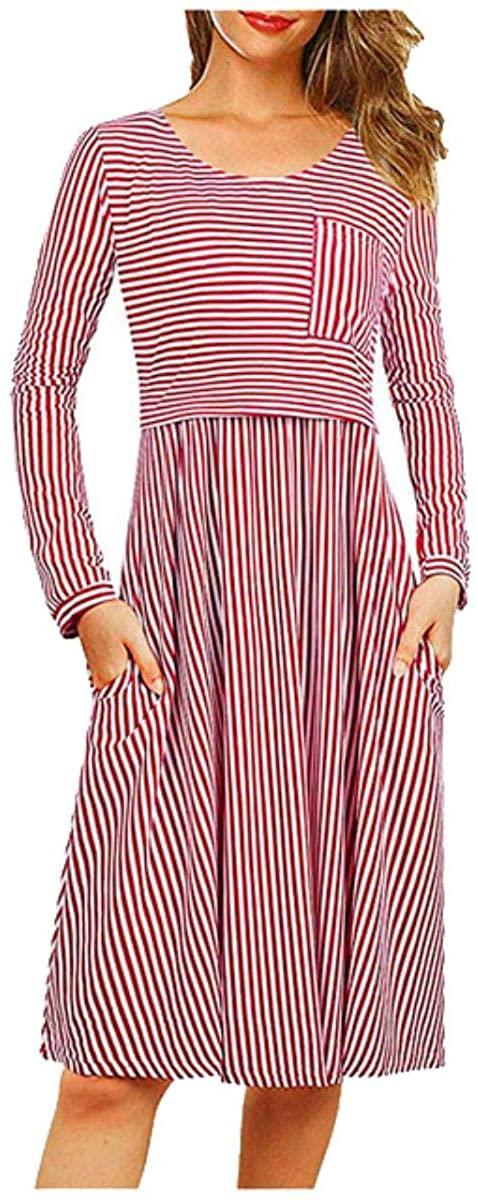 Fantastic Baby Maternity Dresses Winter Long Sleeve Dress Stripe Pocket Dress Nursing Dress Cotton