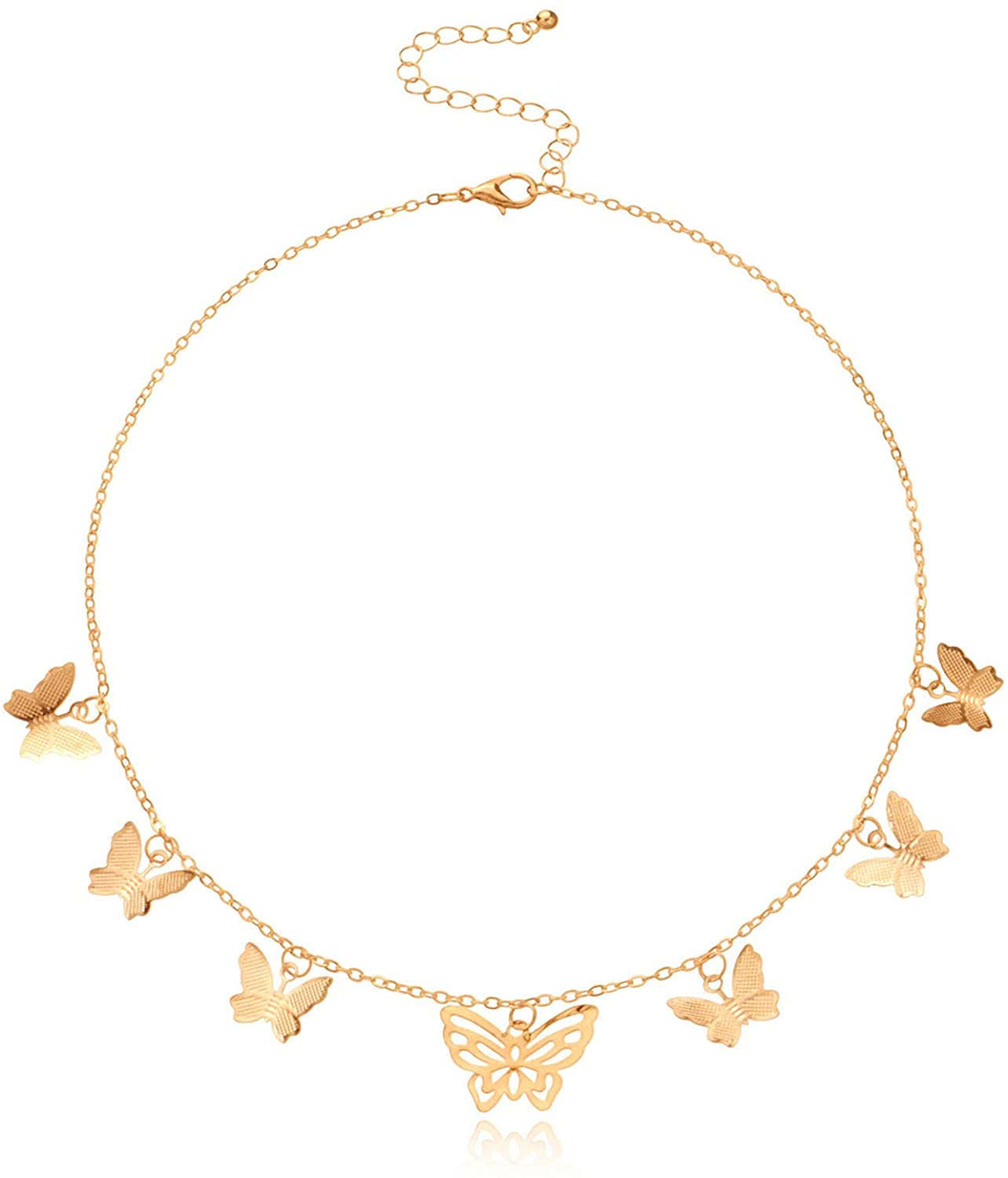 kelistom Butterfly Necklace for Women Girl, Gold Plated Butterfly Layered Chain Choker Pendant Necklace