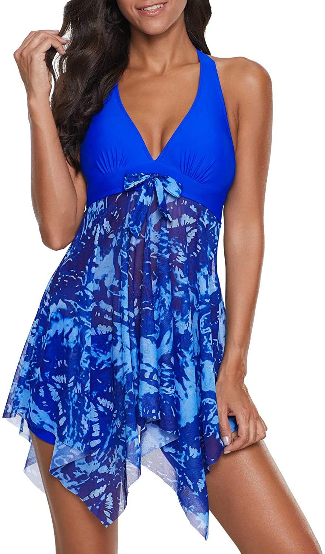 SENSERISE Womens Halter Swimdress 2 Piece Swimwear Print Tankini Swimsuit with Boyshort