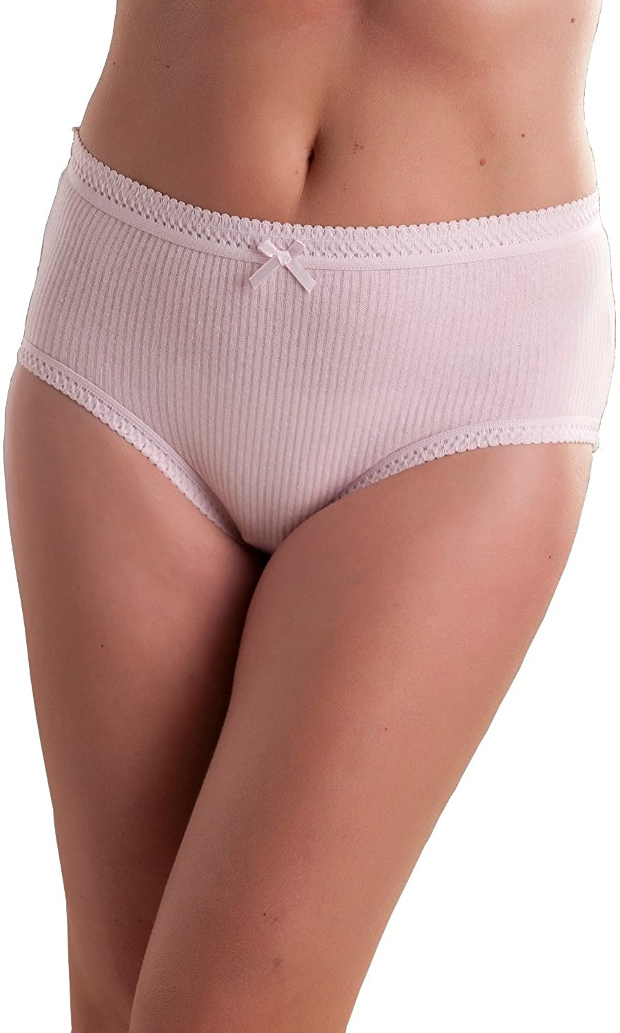6 Pack: Womens Passionelle Ribbed Pastel Color Super Soft Cotton Full Briefs