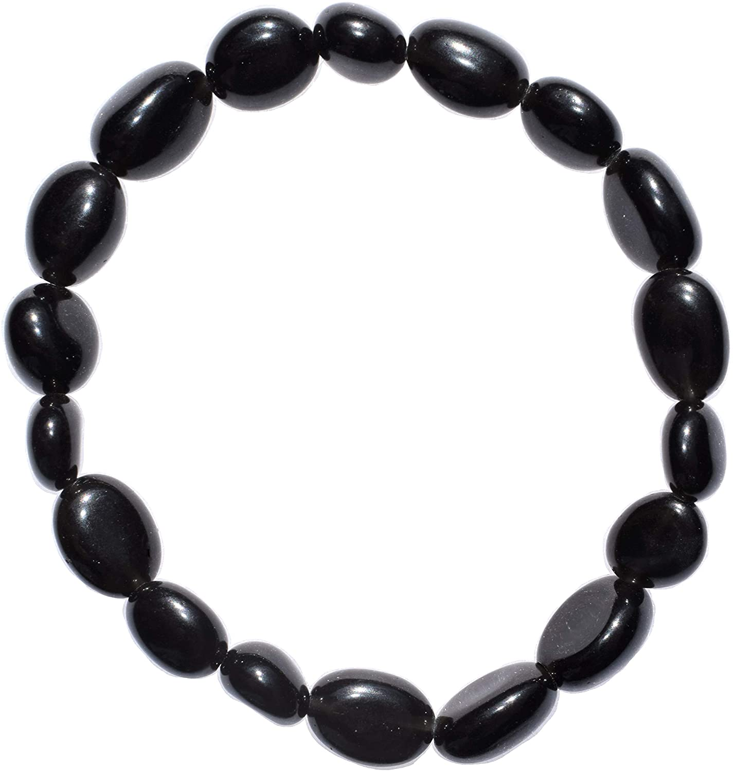Zenergy Gems Charged Natural Black Obsidian Crystal Bracelet Tumble Polished Stretchy + Selenite Heart Charging Crystal Included (Healing Energy/GROUNDING/Grieving Bracelet)