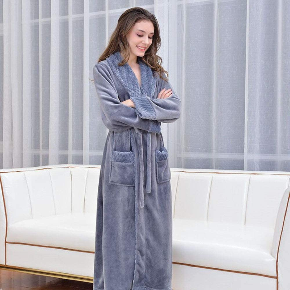 llwannr Bathrobe Robe Nightgown Sleep,Winter Thicken Warm Women Men Kimono Robe Couples Flannel Bathrobe Nightgow Lovers Bath Dressing Gown Robe Sleepwear,Gray,Women,XL