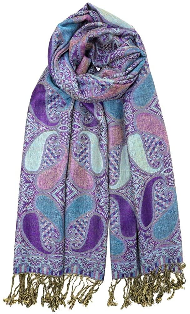 Achillea Soft Silky Multi Color Paisley Pashmina Double Layered Shawl Wrap Scarf