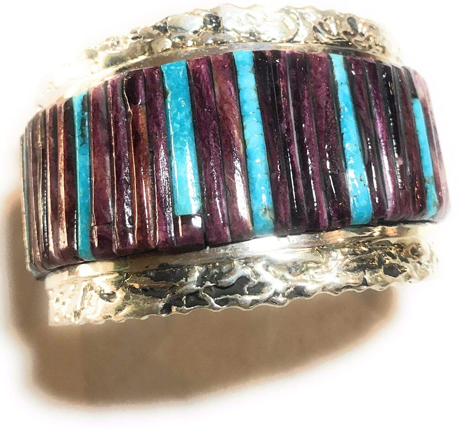 Nizhoni Traders LLC Purple Spiny Oyster Turquoise Sterling Silver Cuff Bracelet Signed