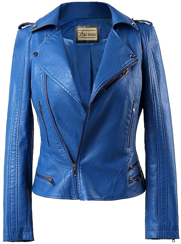 T&I Texas Amazing Style Blue Leather Jacket for Women