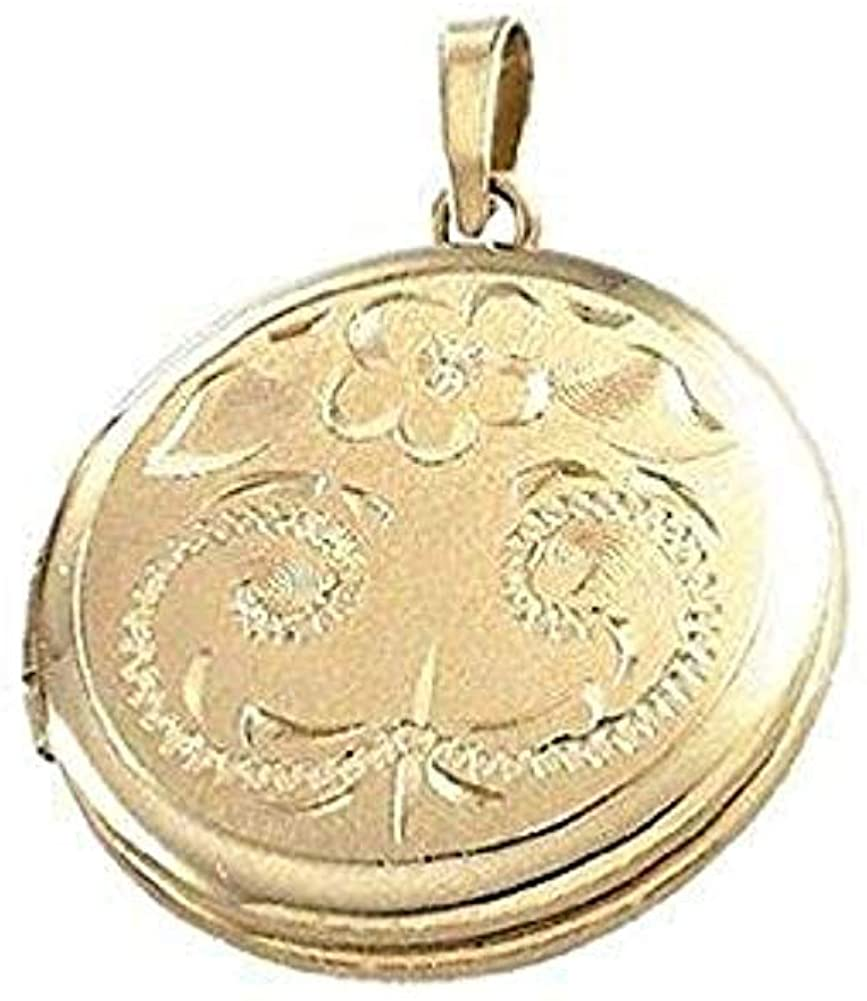 PicturesOnGold.com Solid 14K Yellow Gold Round Locket - 3/4 Inch X 3/4 Inch Solid 14K Yellow Gold