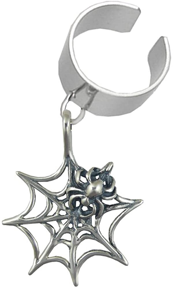 Sterling Silver Spider And Web Dangle Ear Cuff