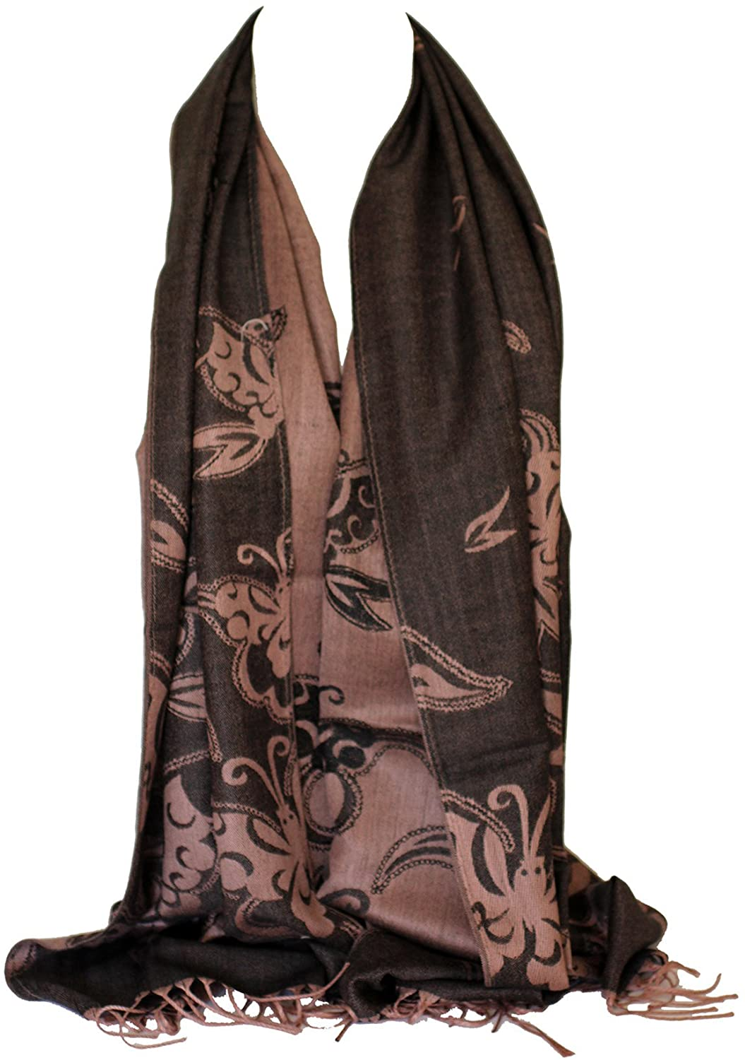 Scarf Shack Pashmina Style Quality Two Sided Butterfly Print Self Embossed Cashmere Feel Wrap Stole Scarves Shawl
