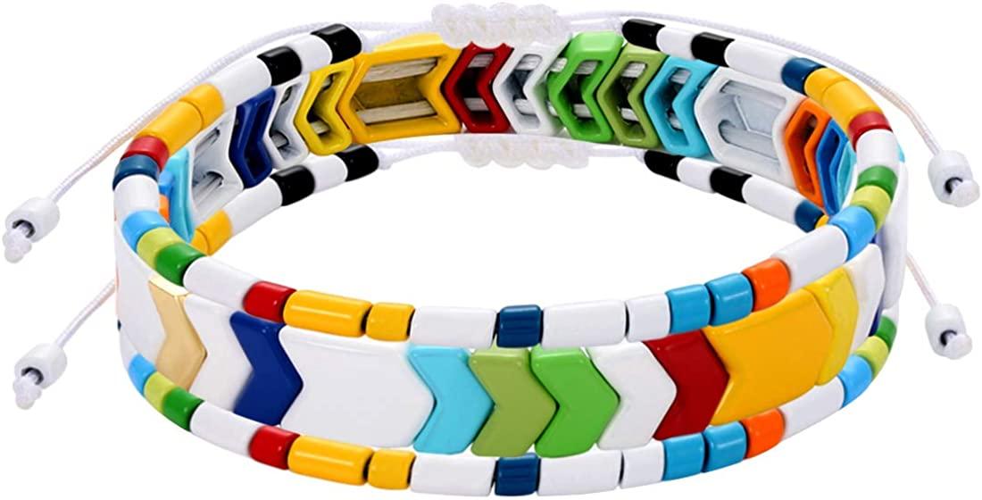 Rainbow Enamel Tile Bracelets for Women Arrow Tile Bead Bracelets Multicolor Elastic Stackable Stretch Bracelet Set Bohemia Wrap Bangle Bracelets for Girls