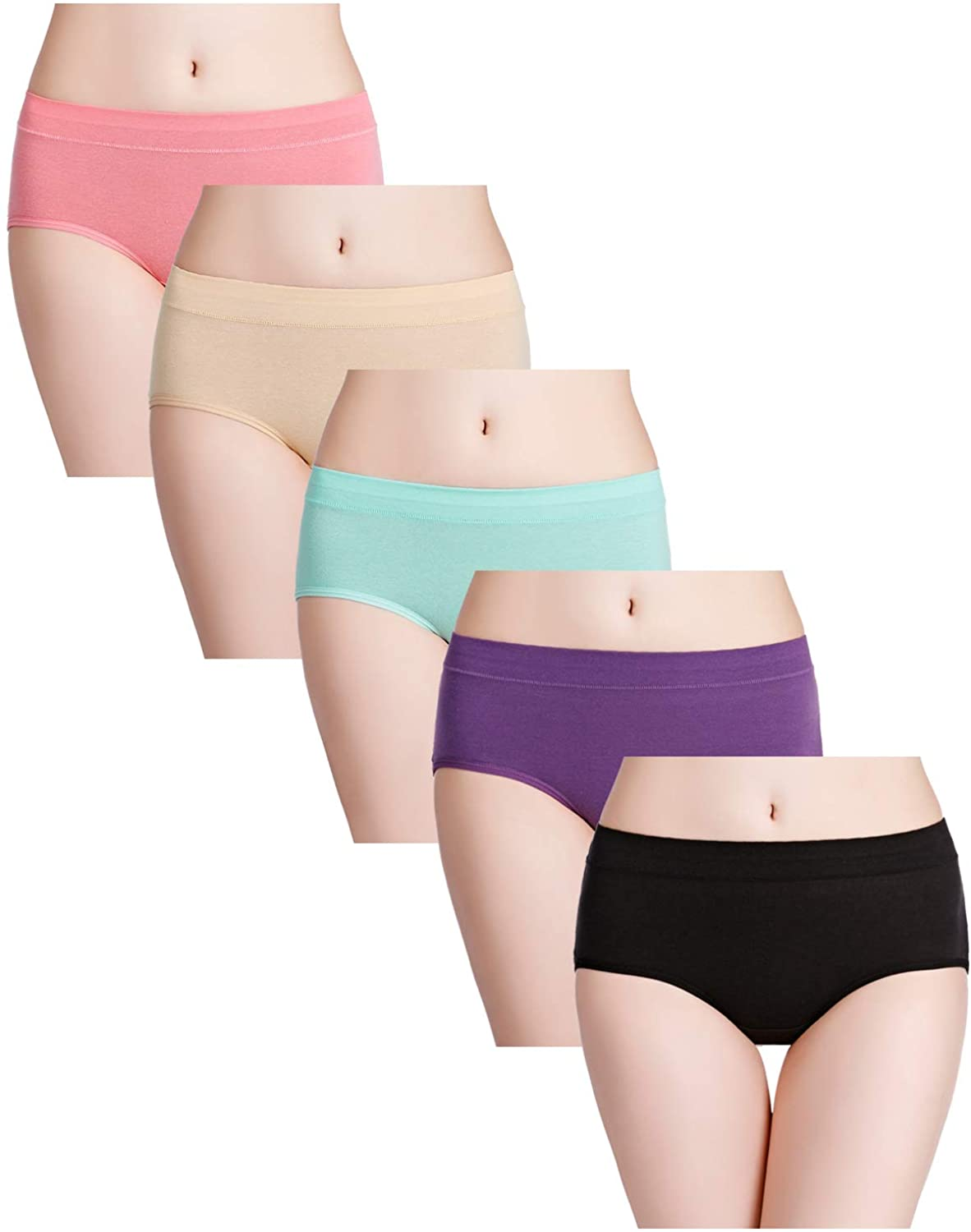 Fulyou Women Cotton Panties Mid Rise Underwear Briefs Ladies Stretch Breathable Comfortable Underpants