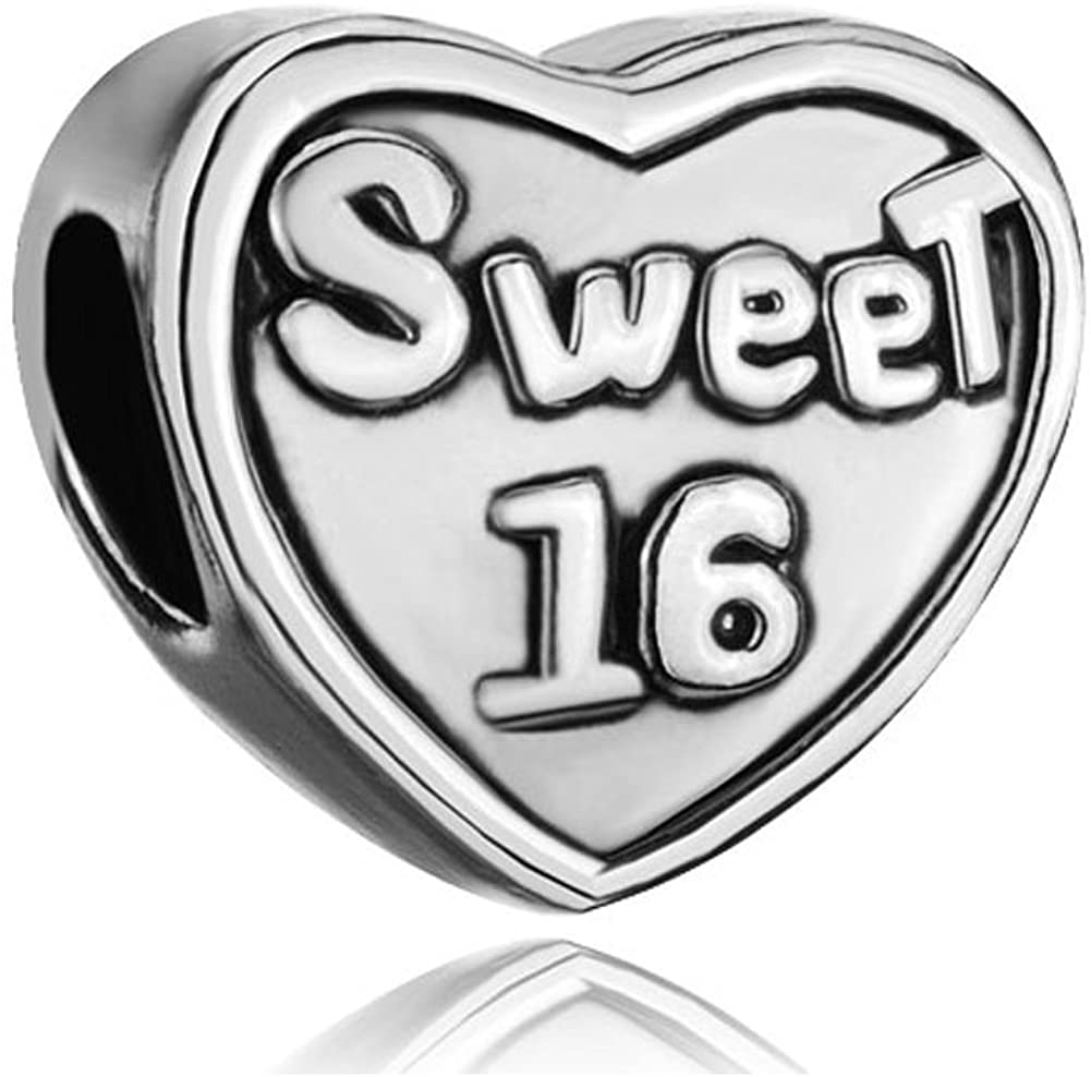 Third Time Charm Heart Sweet 16 Charm Beads for European Charms Bracelets