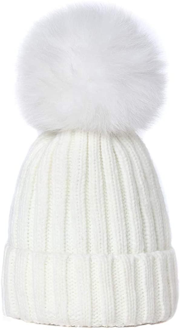Yetagoo Knitted Warm Winter Slouchy Beanie Hats with Faux Fur Pom Pom Hat Chunky Slouchy Ski Cap
