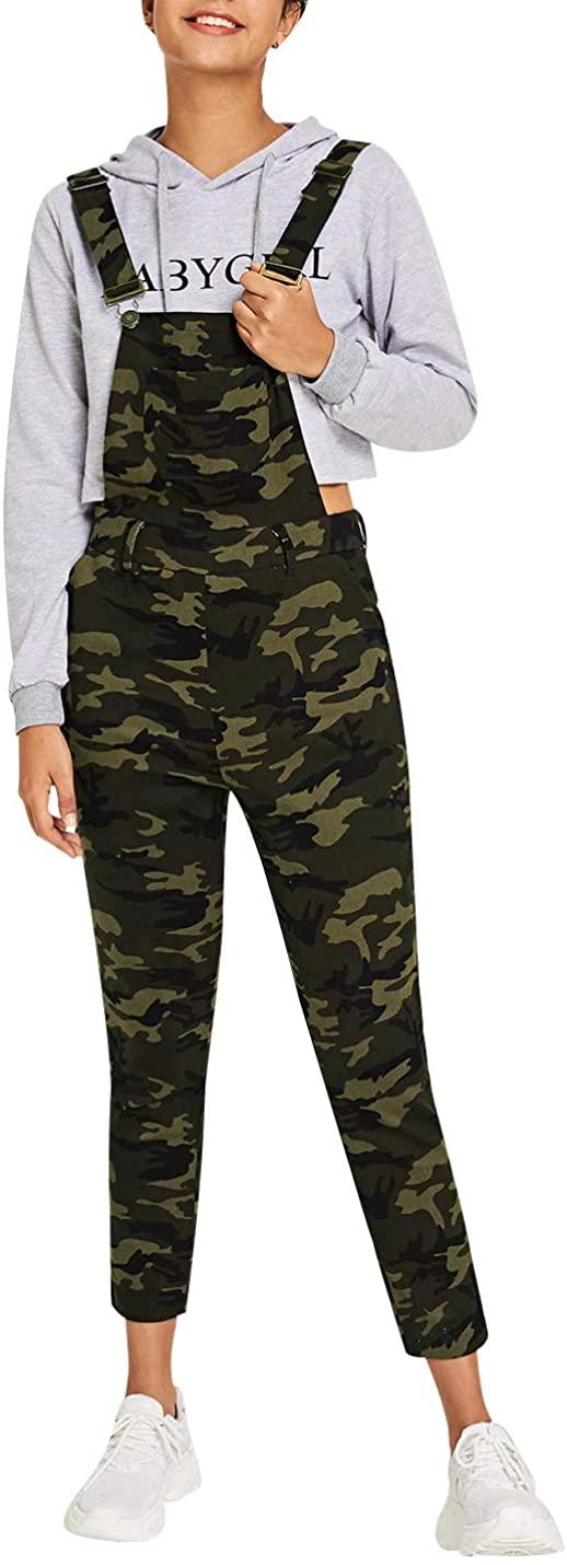 Snoly Women's Casual Cotton Jumpsuits Shoulder Straps Camo Bib Overalls Cropped Pants