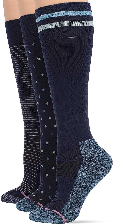 Dr. Motion Women's 3-Pack Dots, Pinstripe, Varsity Stripe Compression Socks Sockshosiery