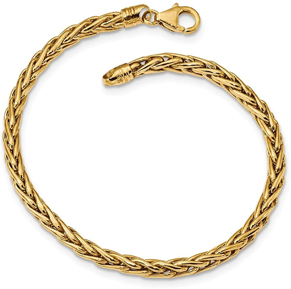 Solid 14k Yellow Gold Polished Fancy Link Bracelet - with Secure Lobster Lock Clasp (4mm)