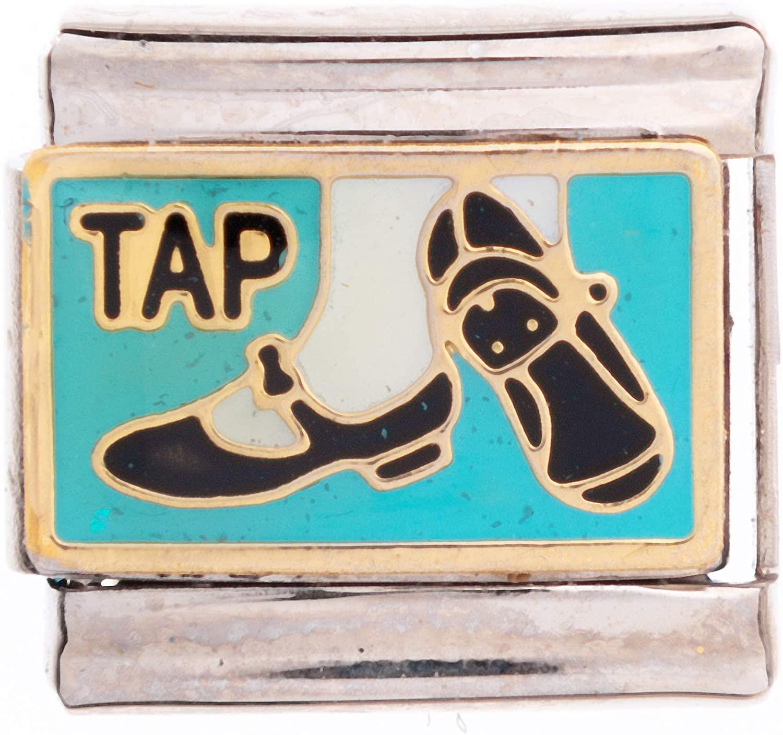 University Gifts Italian European Friendship Bracelet Charms 9 mm Tap Dance Happy Shoes