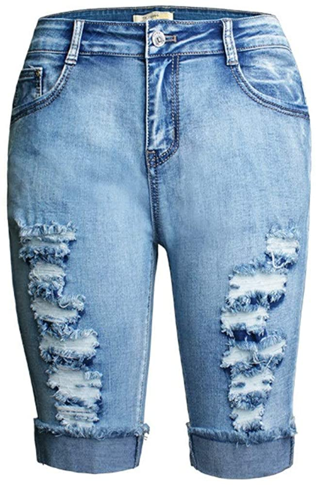 HXX Hot Sexy ash wash Worn-Out Women's Denim Cropped Pants Elastic w high Waist Shredded Jeans Spring Summer