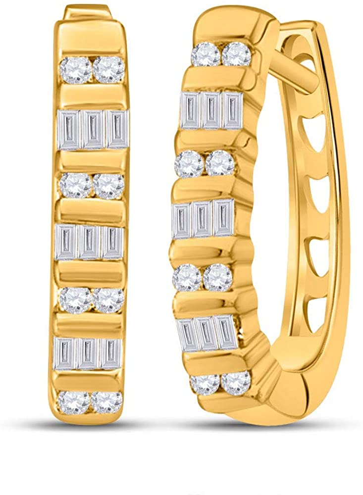 Diamond2Deal 10kt Yellow Gold Baguette Diamond Hoop Earrings for Women 1/4 Cttw